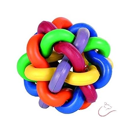 Viacfarebná tkaná guľa 9,5 cm hračka pre psov
