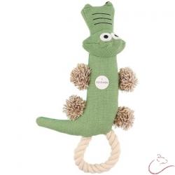 Látková,pískacia hračka pre psa - krokodíl