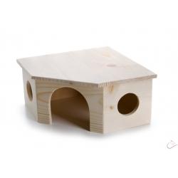 JK Drevený rohový domček králik L 26x26x13 cm