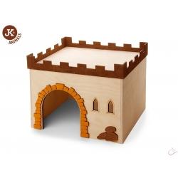 Hrad drevený domček pre králiky, veľkosť 29 × 24,5 × 22,5 cm