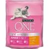 Krmivo pre mačky One Junior 1-12 s kuracím mäsom a celozrnnými obilninami, 800 g