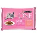PURINA ONE Multipack JUNIOR mini filetky s lososom a mrkvou v šťave 4x85g