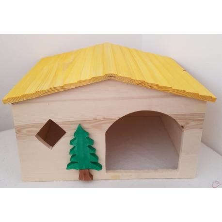 Drevený domček pre králika a iné hlodavce 30x23x19 cm