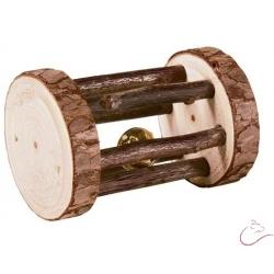 Hračka drevený valček rozmer 7 x 5 cm s rolničkou pre malé hlodavce.