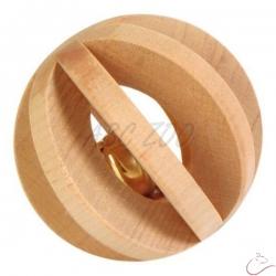 Hračka drevená guľa rozmer 6 x 6 cm s rolničkou