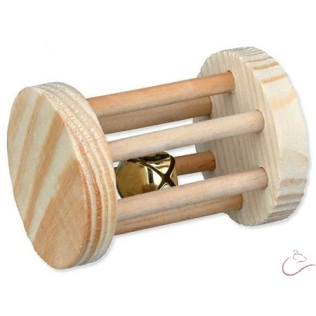 Hračka drevený valček rozmer 7 x 5 cm s rolničkou TRIEXIE Spielrolle