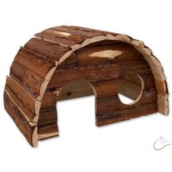 Drevený domček SMALL ANIMALS 36,5x22x20 HOBIT s kôrou XL ( drevo h. 1,2 cm )